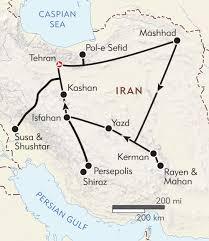 Map Of Persian Gulf Heart Of Persia Itinerary U0026 Map Wilderness Travel