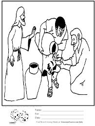 coloring page wedding jesus makes wine ginormasource kids