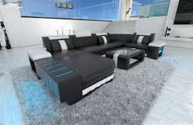 sofa mit beleuchtung polstersofa wohnlandschaft bellagio u form design sofa mit led