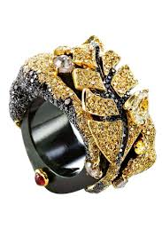 black jade band chara wen collection ring with yellow and black