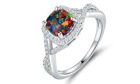 black opal engagement rings 4 ctw black opal engagement ring groupon goods