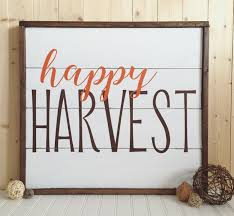 double sided happy harvest season u0027s greetings wood sign framed