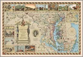 Map Of Maryland An Historical And Literary Map Of The Old Line State Of Maryland