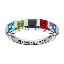 birthstone rings sterling silver square birthstone ring 5 stones 39847