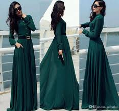 2016 vestido dark green longo women dresses vintage elegant casual