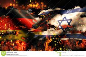 German War Flag Germany Israel Flag War Torn Fire International Conflict 3d Stock