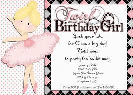Invitation Birthday Party Card Ballerina Birthday Invitations U2013 Gangcraft Net