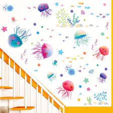 compare prices on children bathroom decor online shopping buy low new lovely jellyfish style wall stickers on the wall children kids rooms bathroom diy home decor