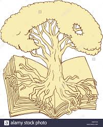 White Oak Tree Drawing Drawing Sketch Style Illustration Of An Oak Tree Rooted On Book