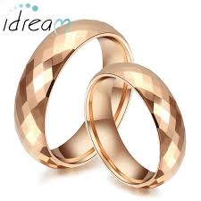 wedding band set gold plated tungsten wedding bands set domed faceted