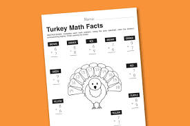 printables thanksgiving worksheet wednesday turkey math facts paging supermom