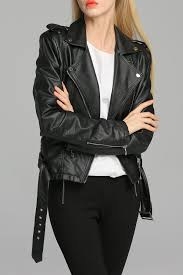 cloth moto jacket bootyjeans black belted faux leather moto jacket jackets at dezzal
