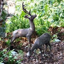 Cool Garden Ornaments Pair Of Aged Bronze Finish Deer Garden Ornaments Large Deer