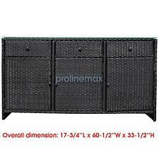 outdoor wicker storage cabinet amazon com black 3 drawers wicker rattan buffet serving cabinet