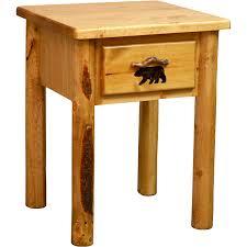 Rustic Pine Nightstand Rocky Mountain Pine One Drawer Nightstand Colorado Pine Log