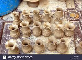 Miniature Flower Vases Closeup Outdoor Shot Mexico Miniature Clay Pottery Flower Vases