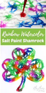 rainbow watercolor raised salt paint shamrock easy art projects