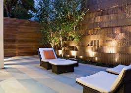 outdoor fence lighting ideas garden fence lighting ideas patio contemporary with wicker furniture