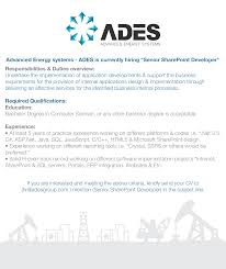 Asp Net Resume For Experienced Ades Advanced Energy Systems Linkedin
