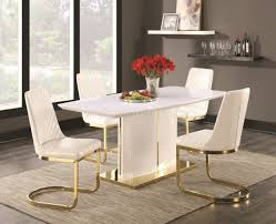 Gloss White Dining Table And Chairs Cornelia Dining Table Set 5pc 106711 High Gloss White By Coaster