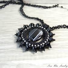 black agate necklace images Black agate sunburst pendant necklace iris elm jewelry unique jpg