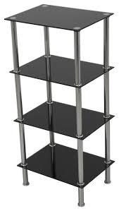 small 4 tier shelving unit in black glass u0026 chrome contemporary