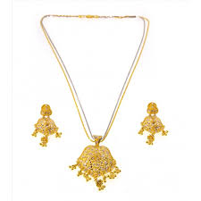 gold pendant necklace set images Two tone pendant necklace set with earrings 22kt gold jpg