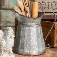 rustic country style galvanized metal milk pitcher kitchen home