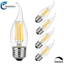 lucero decorative led filament light bulb c32 bent flame tip 4w 40