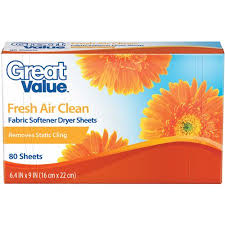 great sheets great value fresh air clean fabric softener dryer sheets 80 count
