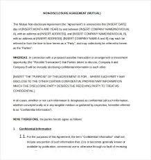 10 non disclosure agreement templates u2013 free sample example