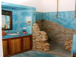 blue bathroom designs stunning blue bathroom design with rock idea bath room