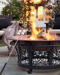 decorative cast iron steel fire pit with copper bowl balsam hill