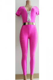 pink jumpsuit womens womens ripped sleeve lace up jumpsuit pink