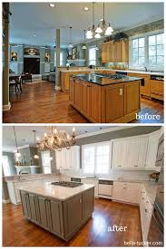 Painted White Kitchen Cabinets Before And After Pine Wood Grey Glass Panel Door Painting Kitchen Cabinets Before