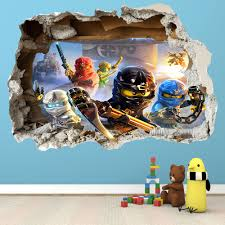 home decor 3d stickers lego ninjago smashed wall sticker 3d bedroom boys girls vinyl