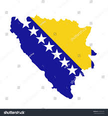 Country Flags Small Bosnia Herzegovina Flag Map Country Outline Stock Illustration