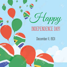 Afican Flag Independence Day Flat Greeting Card South Africa Independence Day