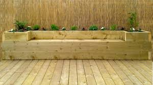 Deck Wood Bench Seat Plans by Softwood Decking U0026 Raised Bed Bench Youtube