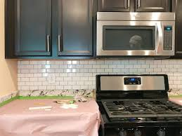 Installing A Subway Tile Backsplash For  Young House Love - No backsplash