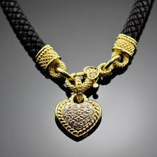 heart leather necklace images Judith ripka necklace 1 50 ct diamond heart leather cord 18k jpg