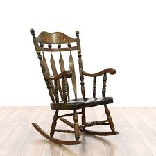 Mission Style Rocking Chair Mission Style Carved Oak Leather Rocking Chair Loveseat Vintage