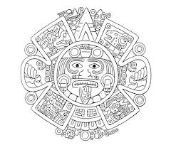 drawn lunar aztec pencil and in color drawn lunar aztec