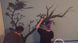tree wall mural speed painting for bedroom youtube