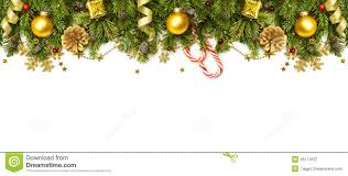 christmas decorations border isolated on white background stock