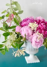 Peony Floral Arrangement by Asymmetrical Garden Flower Arrangement