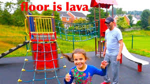 outdoor playground for kids fun and the floor is lava kids play
