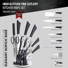 amazon com 9 pc stainless steel kitchen knife block set bonus