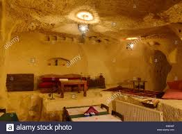 interior of urgup evi rock house cave hotel restaurant carved out