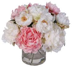 artificial peonies silk peonies bouquet in glass vase with water